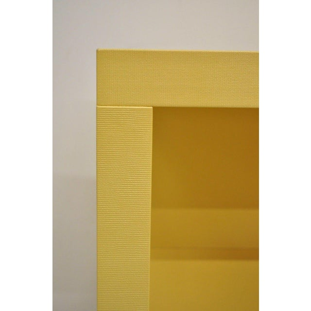 Early 21st Century Modern Decca Yellow Grasscloth Raffia Wrapped End Tables - a Pair For Sale - Image 5 of 10
