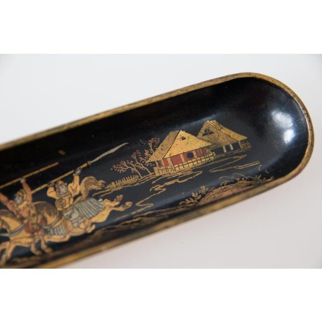 Antique Chinoiserie Papier Mache Pen Tray For Sale - Image 4 of 7