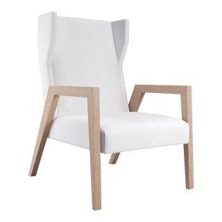 Mariposa Wingback Chair - Natural Cerused Oak For Sale