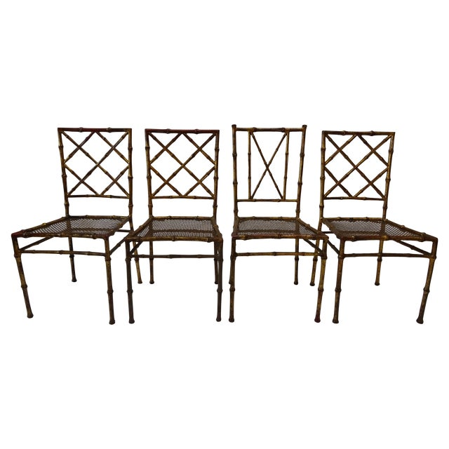 Italian Faux Bamboo Gold Dining Chairs - S/4 - Image 1 of 8