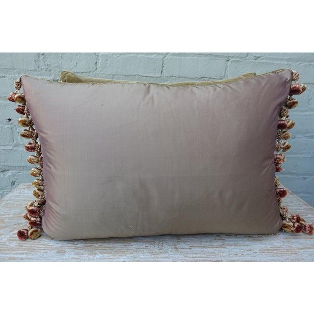 Brown Silk Velvet Floral Applique Pillows - A Pair For Sale - Image 4 of 5