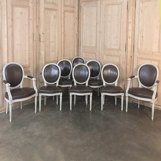 Set of 8 Antique French Louis XVI Dining Chairs Includes 2 Armchairs For Sale - Image 13 of 13