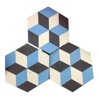C. 1900 French Blue, Black, and White Reclaimed Geometric Flooring Tiles For Sale