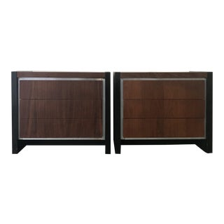 1970s Mid Century Modern Milo Baughman for Dillingham Walnut Night Stands - a Pair