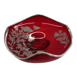 Red Glass Candy Dish For Sale