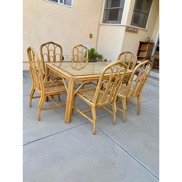 1970s Boho Chic Bamboo Dining Set of Six Chairs For Sale - Image 11 of 13