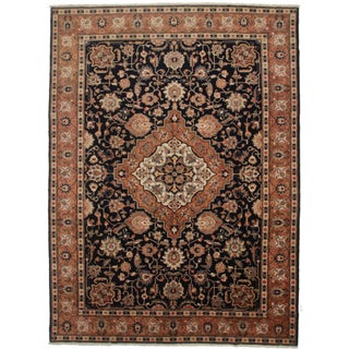 RugsinDallas Vintage Wool Persian Tabriz Rug - 9′3″ × 12′9″ For Sale
