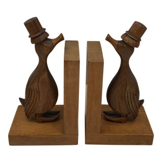 Pair of French Art Deco Period Hand Carved Wooden Bookends, Natural Walnut Wood For Sale