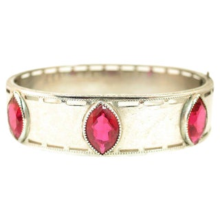 Art Deco Nu-Wite Chrome & Ruby Crystal Bangle, 1920s For Sale