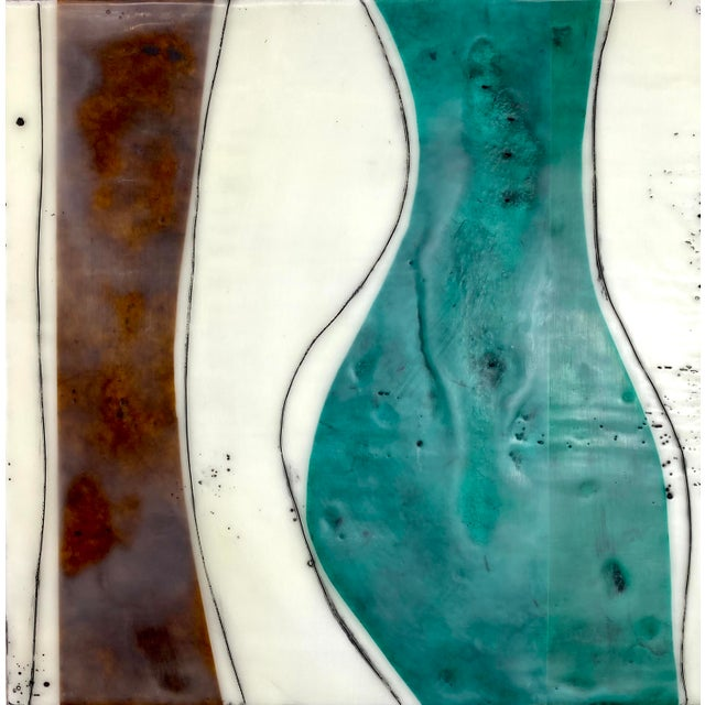 """""""Bodies in Motion"""" Encaustic Collage by Gina Cochran - 16 Piece Installation For Sale - Image 12 of 13"""