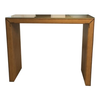 Faux Ostrich Glass Top Bistro Console For Sale