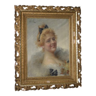 19th Century Portrait of Beautiful Young Lady Oil Painting by Adriano Goby For Sale