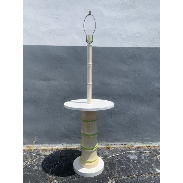 White 1970's Faux Bamboo Floor Lamp For Sale - Image 8 of 8