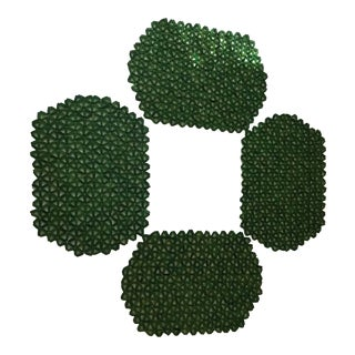 "Green ""Daisy"" Wooden Placemats - Set of 4 For Sale"