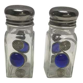 Art Deco Cobalt Blue Glass Salt & Pepper Shakers For Sale