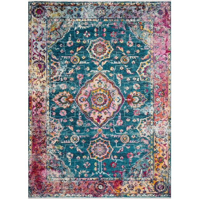 "Loloi Rugs Silvia Rug, Teal / Berry - 6'x8'8"" For Sale"