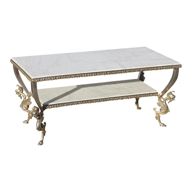 1940s Art Nouveau Maison Jansen Two-Tier Bronze ''Dragon Leg'' Coffee Table For Sale