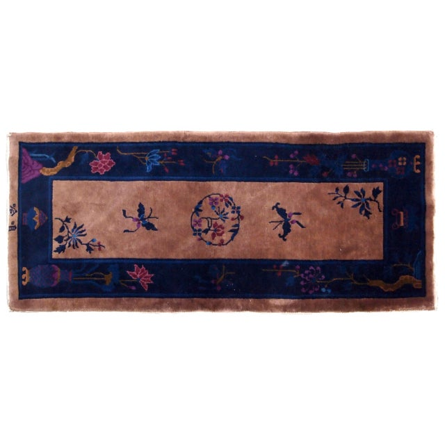 Blue 1920s Handmade Antique Art Deco Chinese Rug 2.2' X 6.7' For Sale - Image 8 of 9