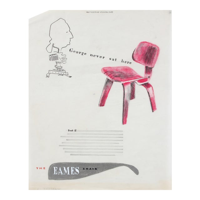 Mid Century Eames Chair Illustration in Pastel and Colored Pencil For Sale