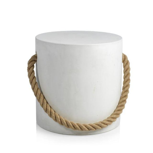 Modern White Concrete Stool With Rope For Sale - Image 3 of 3