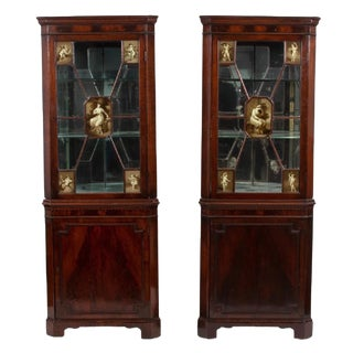 Pair of 19th-C. English Regency Corner Cabinets For Sale