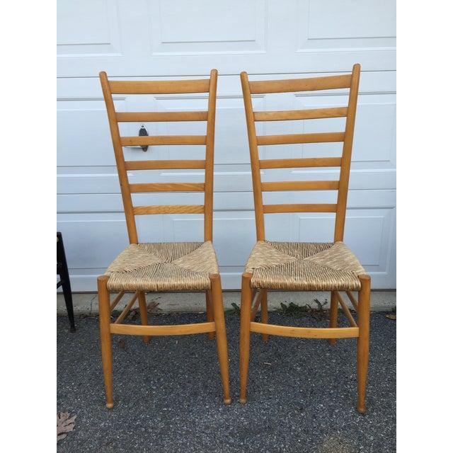 Vintage Mid Century Italian Ladder Back Chairs A Pair Chairish