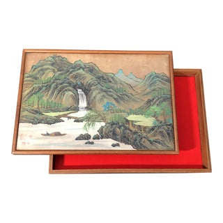 Japanese Hand Painted Wooden Box For Sale
