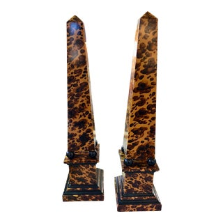Maitland-Smith Faux Tortoiseshell Obelisks - a Pair For Sale