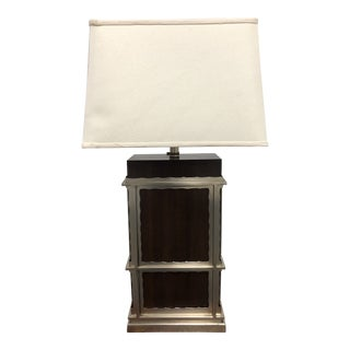 Maitland-Smith Dark Walnut + Nickel Finish Table Lamp For Sale