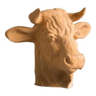 Vintage French Papier Maché Head of a Bull circa 1920 For Sale