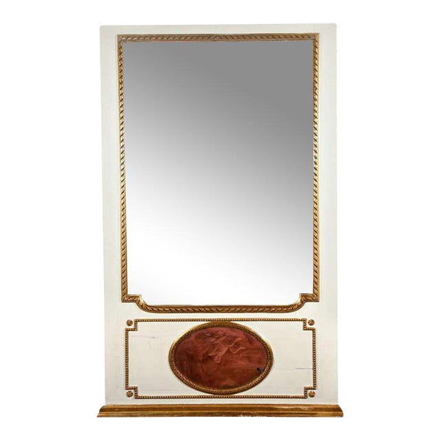 White Painted & Parcel-Gilt French Trumeau Mirror For Sale - Image 10 of 10