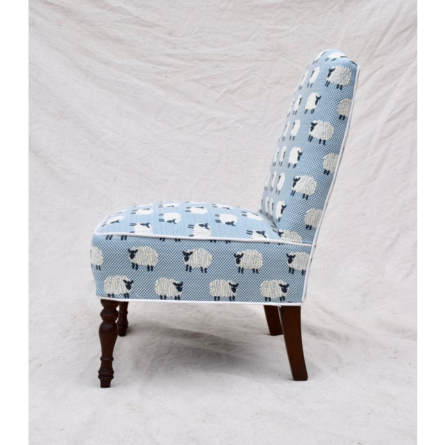 """Late 19th Century Scalamandre, """" Ewe Too in Blue"""" Petite Antique Slipper Chairs For Sale - Image 5 of 13"""