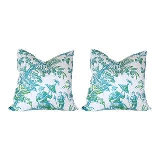 Custom Aqua & Lime Chinoiserie Toile Pillows - A Pair
