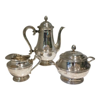 Vintage Christofle Malmaison Empire 3 Piece Silver Tea Service For Sale