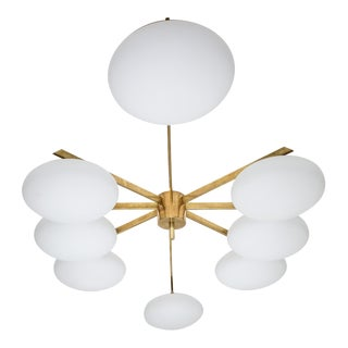 Stella Evening - Angelo Lelli Style Brass and Opaline Ceiling Lamp For Sale