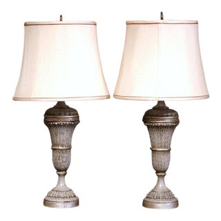 Pair of 19th Century Carved Painted Table Lamps With Custom Shades For Sale