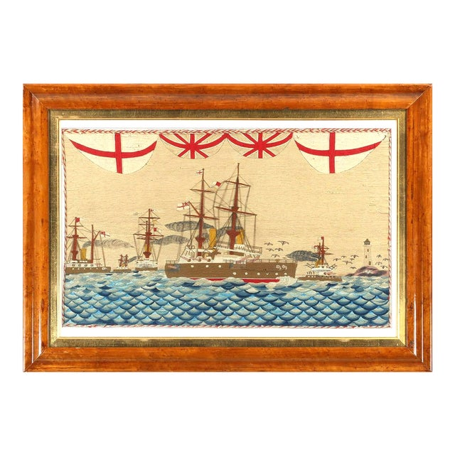 Large British Sailor's Woolwork of Fleet, Circa 1890 For Sale