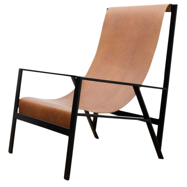 """Foreman Brothers """"Hampton"""" Leather Sling Lounge Chair For Sale"""