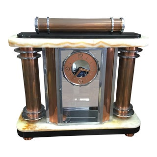 French Art Deco F. Martin Marble Mantle Clock For Sale