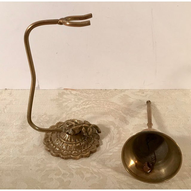 Mid 20th Century Vintage Brass Bell on Stand For Sale - Image 5 of 8
