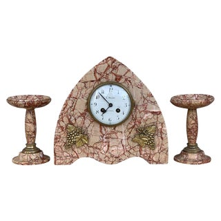 Art Deco Pink Marble Set of Mantle, Desk or Chapel Clock With Bronze Details For Sale