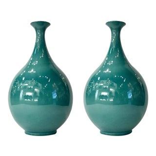 Modern Peacock Green Glaze Tear Drop Porcelain Vases Pair For Sale