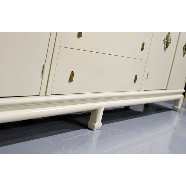 Cream Vintage Chinoiserie Credenza by Mount Airy Furniture - Newly Painted For Sale - Image 8 of 12