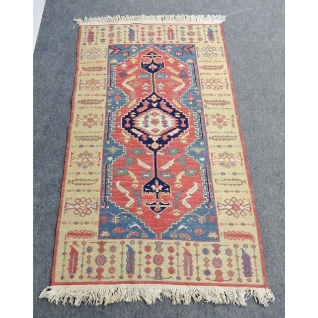Mid 20th Century Hand Made Geometric Medallion Rug 3′1″ × 5′6″ For Sale - Image 5 of 5