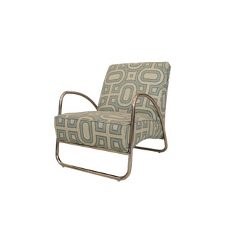 Organic Modern White and Teal Patterned Neo Club Chair For Sale