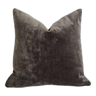 Dark Grey Velvet Euro Sham 26x26 For Sale