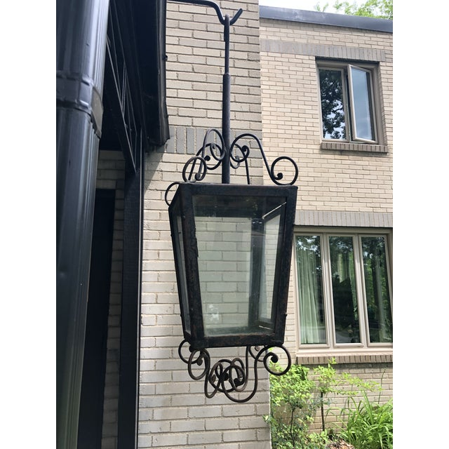 Metal 19th Century Rustic Hand Forged Wrought Iron Outdoor Candle Lantern For Sale - Image 7 of 13