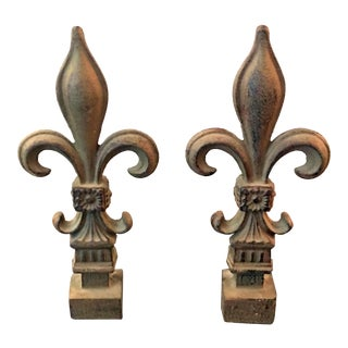 Cast Iron Fleur De Lis Bookends - a Pair