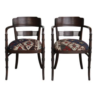 Vintage Barrel Chairs Upholstered With Antique Carpets - a Pair For Sale