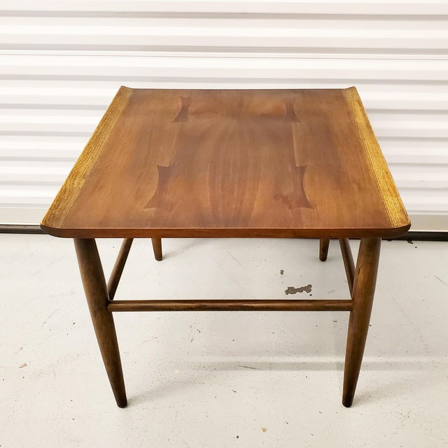 Wood Mid-Century Modern Baumritter Walnut Side Table With Bowtie Inlay & Oak Accents For Sale - Image 7 of 9